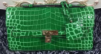Hermes Kelly Clutch Bag Croco Leather K2651 Green