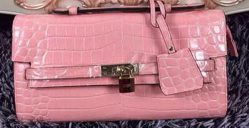 Hermes Kelly Clutch Bag Croco Leather K2651 Light Pink