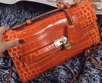 Hermes Kelly Clutch Bag Croco Leather K2651 Orange