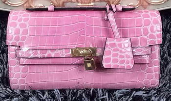 Hermes Kelly Clutch Bag Croco Leather K2651 Pink