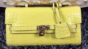 Hermes Kelly Clutch Bag Croco Leather K2651 Yellow