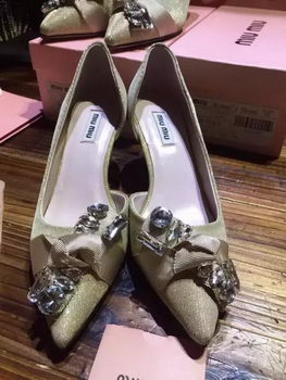 miu miu Point-Toe Flat MM338 Light Gold
