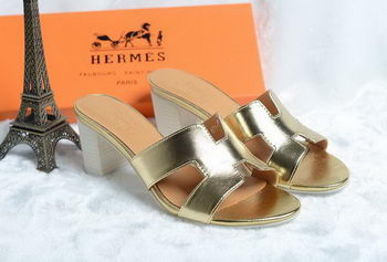 Hermes Sandals Leather HO0425 Gold