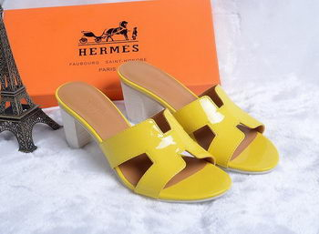 Hermes Sandals Patent Leather HO0438 Yellow