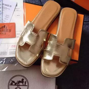 Hermes Slipper Calfskin Leather HO0476 Gold