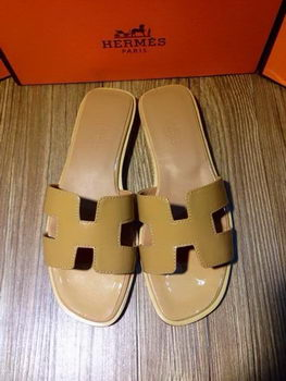 Hermes Slipper Patent Leather HO0403 Khaki
