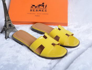 Hermes Slipper Patent Leather HO0430 Yellow