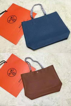 Hermes Shopper Double-Sided Bag Original Leather HS1209 Blue&Wheat