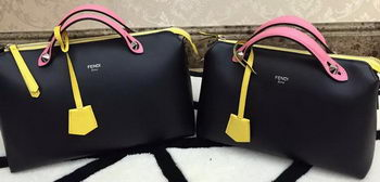 Fendi BY THE WAY Bag Calfskin Leather F55208 Black&Pink&Yellow