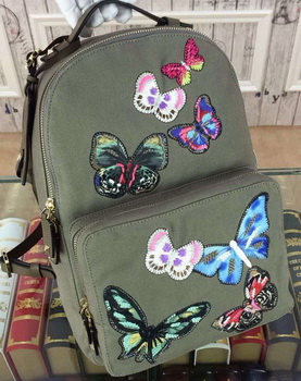 Valentino Camu Butterfly Medium Backpack Canvas VT13302 Green