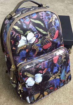 Valentino Camubutterfly Printed Medium Backpack Nylon VT13302 Khaki