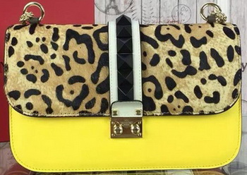 Valentino Garavani Leopard Shoulder Bags Original Leather VO1914 Yellow