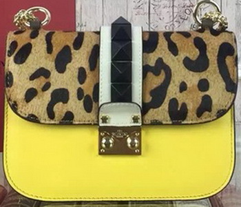 Valentino Garavani Leopard Shoulder Bags Original Leather VO1915 Yellow