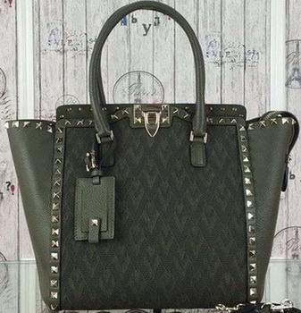 Valentino Garavani Rockstud Medium Bag Jaquard Fabric VG1912T Green