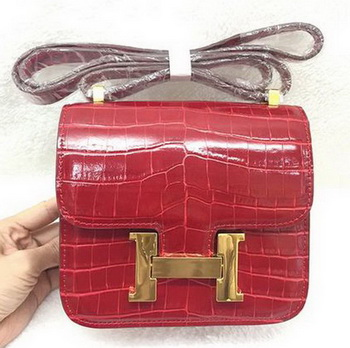 Hermes Constance Bag Croco Leather H3326 Red