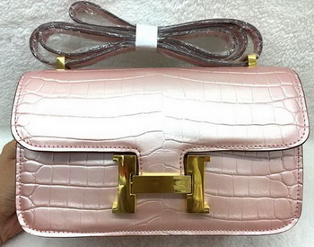 Hermes Constance Bag Croco Leather H3327 Pink