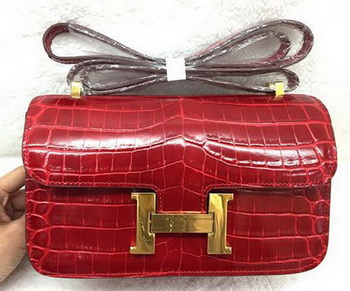 Hermes Constance Bag Croco Leather H3327 Red