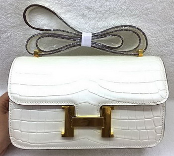 Hermes Constance Bag Croco Leather H3327 White
