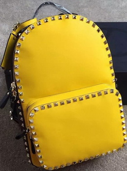 Valentino Garavani Rockstud Backpack Original Leather VL19612C Yellow