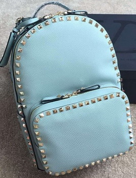 Valentino Garavani Rockstud Backpack Original Litchi Leather VT19612 SkyBlue
