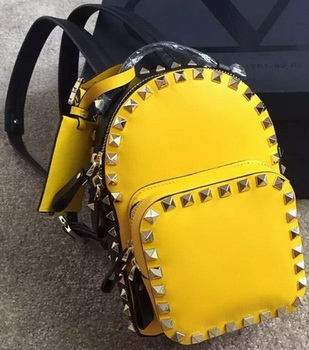 Valentino Garavani Rockstud Original Leather Backpack VL19611 Yellow