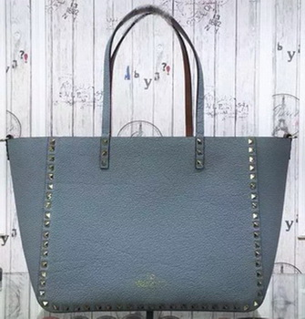 Valentino Garavani Rockstud Reversible Medium Double Handle Shopping Bag GWB00626 SkyBlue