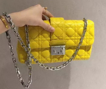 MISS DIOR Sheepskin Leather Shoulder Bag CD5504 Yellow