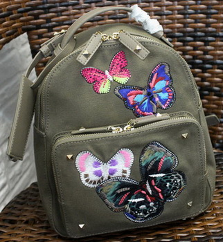 Valentino Camu Butterfly Backpack Canvas VT1170 Green