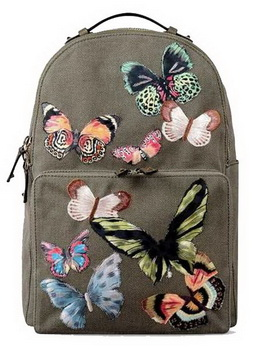 Valentino Camu Butterfly Large Backpack Canvas VT1169 Green