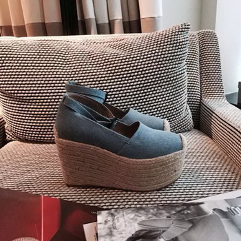 Christian Louboutin Canvas 100mm Wedge CL1526 Light Blue