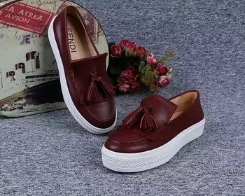 Fendi Casual Shoes FD81 Burgundy