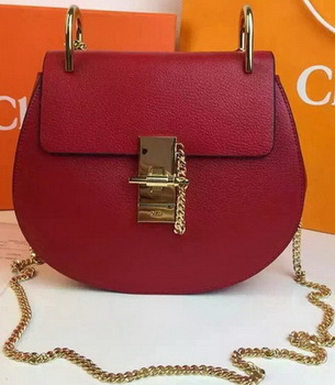 CHLOE Drew Shoulder Bags Calfskin Leather CO2709 Burgundy
