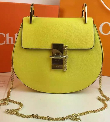 CHLOE Drew Shoulder Bags Calfskin Leather CO2709 Lemon