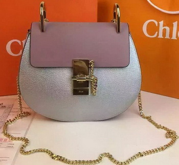 CHLOE Drew Shoulder Bags Calfskin Leather CO2709 Silver&Pink