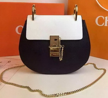 CHLOE Drew Shoulder Bags Calfskin Leather CO2709 White&Black