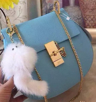 CHLOE Drew Shoulder Bags Calfskin Leather CO3369 SkyBlue