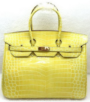 Hermes Birkin 35CM Tote Bag Croco Leather H35CO Yellow