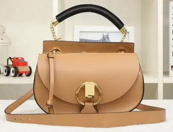 CHLOE Goldie Calfskin Leather Shoulder Bag Apricot