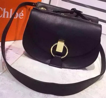CHLOE Goldie Calfskin Leather Shoulder Bag Black