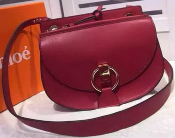 CHLOE Goldie Calfskin Leather Shoulder Bag Burgundy