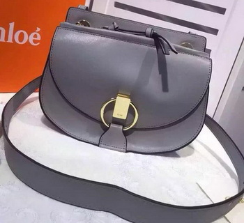 CHLOE Goldie Calfskin Leather Shoulder Bag Grey