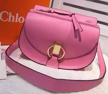 CHLOE Goldie Calfskin Leather Shoulder Bag Pink