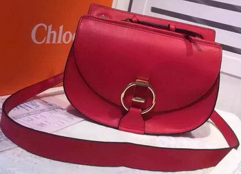 CHLOE Goldie Calfskin Leather Shoulder Bag Red