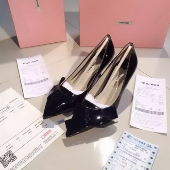 miu miu Patent Leather Flat MM380 Black