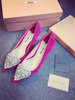 miu miu Suede Leather Pump MM387 Rose