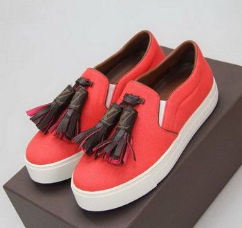 Louis Vuitton Suede Leather Flat LV505 Red