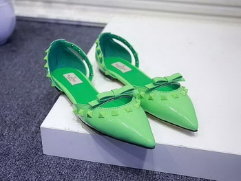 Valentino Leather Flat VT576 Green