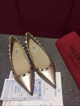 Valentino Leather Flat VT579 Gold