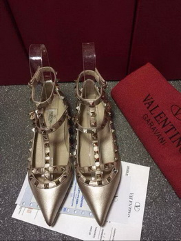 Valentino Leather Flat VT581 Gold