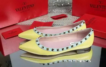 Valentino Leather Flat VT598 Yellow